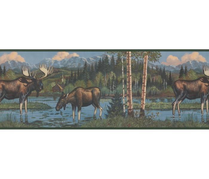 Deer Moose Wallpaper Borders: Dark Black Moose Wallpaper Border
