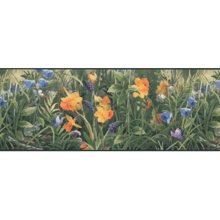 9 in x 15 ft Prepasted Wallpaper Borders - Dark Green Butterfly Floral Wall Paper Border