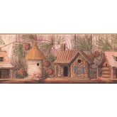 Bird Houses Wallpaper Borders: Yellow Gold Wood Houses Wallpaper Border