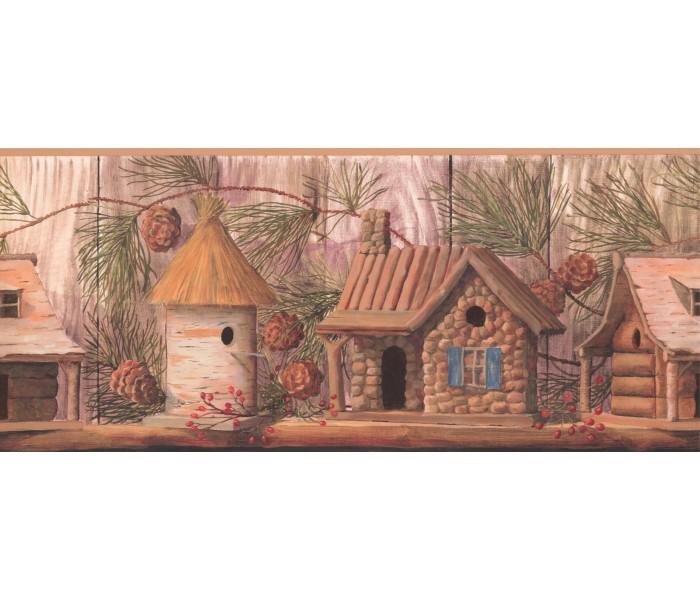 Bird Houses Wallpaper Borders: Yellow Gold Wood Houses Wallpaper Border