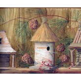 Bird Houses Wallpaper Borders: White Bird Houses Wallpaper Border
