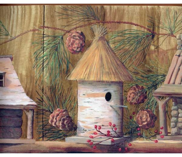 Bird Houses Wallpaper Borders: White Bird Houses Wallpaper Border