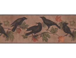 Prepasted Wallpaper Borders - Light Brown Bird Wall Paper Border