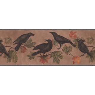 10 1/4 in x 15 ft Prepasted Wallpaper Borders - Light Brown Bird Wall Paper Border
