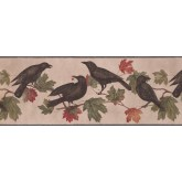 Birds  Wallpaper Borders: Crows Palm Leaves Wallpaper Border