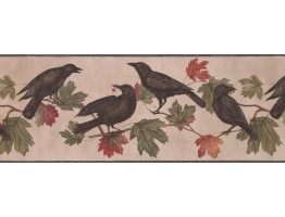 9 in x 15 ft Prepasted Wallpaper Borders - Crows Palm Leaves Wall Paper Border
