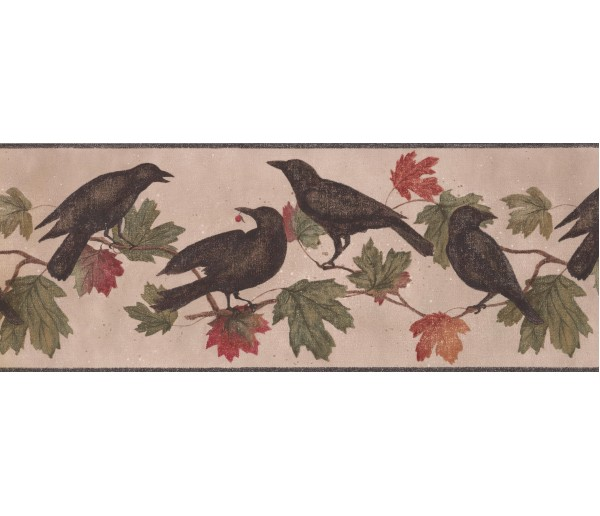 Prepasted Wallpaper Borders - Crows Palm Leaves Wall Paper Border