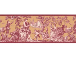 Prepasted Wallpaper Borders - Dark Red Toile Wall Paper Border