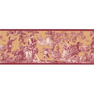 9 in x 15 ft Prepasted Wallpaper Borders - Dark Red Toile Wall Paper Border