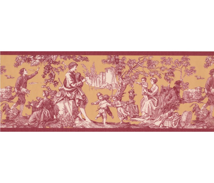 Vintage Wallpaper Borders: Dark Red Toile Wallpaper Border
