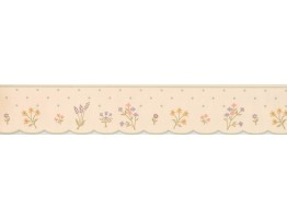 Prepasted Wallpaper Borders - Cream Polka Dot Flower Wall Paper Border