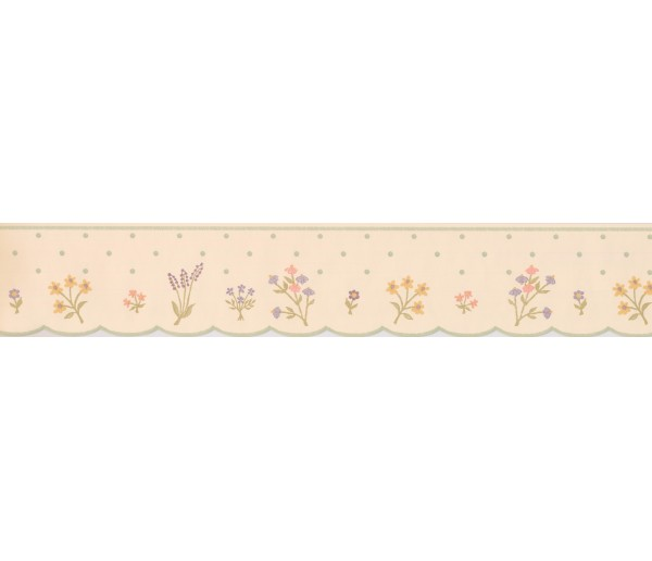 Kids Wallpaper Borders: Cream Polka Dot Flower Wallpaper Border
