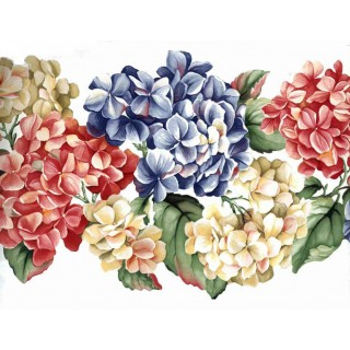9 in x 15 ft Prepasted Wallpaper Borders - Red Blue Yellow Flowers Wall Paper Border