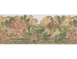 Prepasted Wallpaper Borders - Cherries on Brown Frame Wall Paper Border