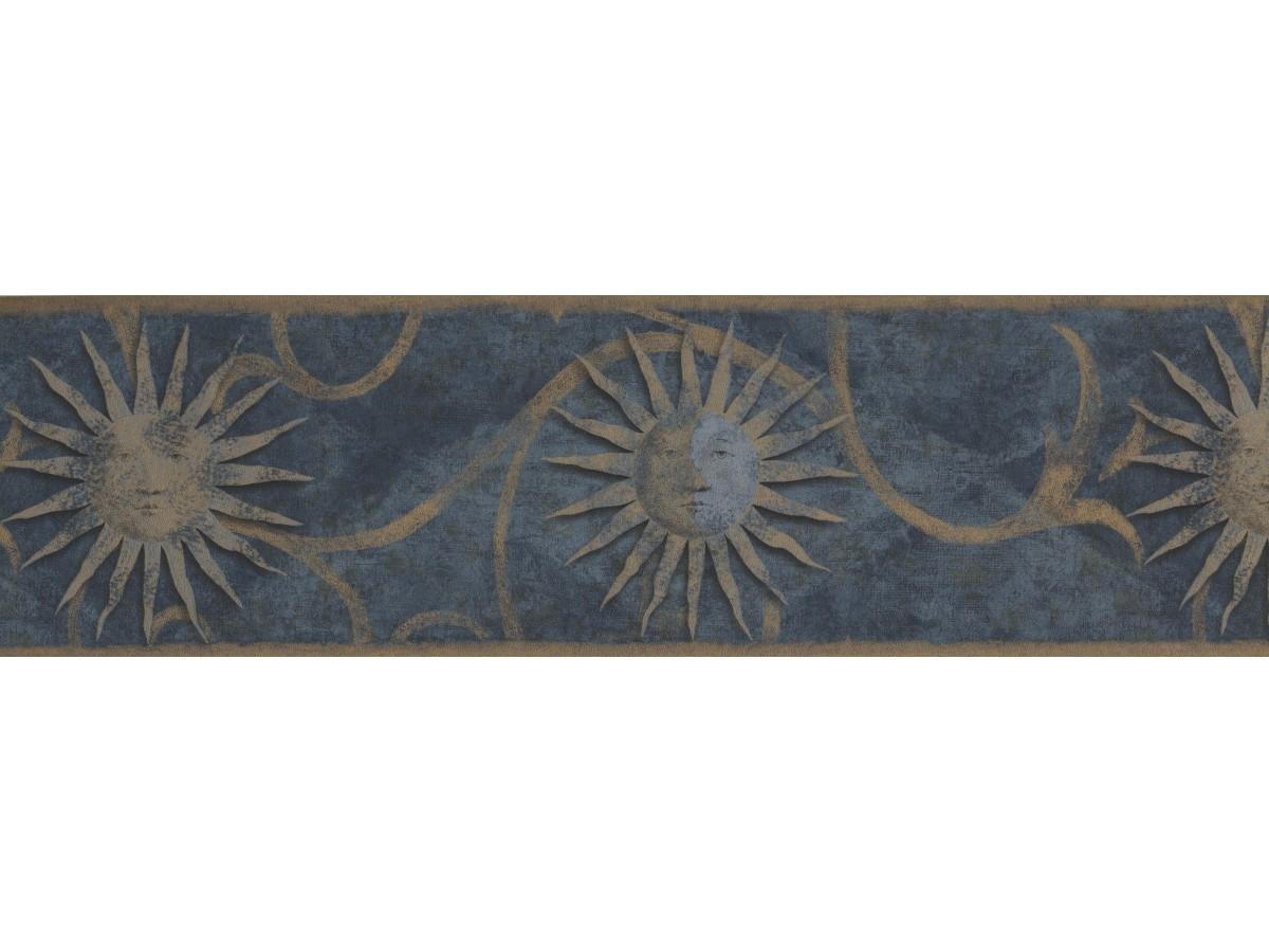 Dark Blue Sun Sign Wallpaper Border