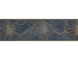 Prepasted Wallpaper Borders - Dark Blue Sun Sign Wall Paper Border