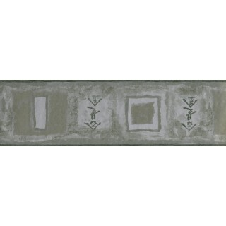 6 1/2 in x 15 ft Prepasted Wallpaper Borders - Green Silver Chinese Symbols Wall Paper Border