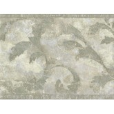 Vintage Wallpaper Borders: Green Painted Leaves Wallpaper Border