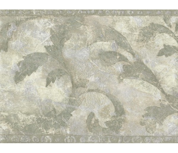 Vintage Borders Green Painted Leaves Wallpaper Border