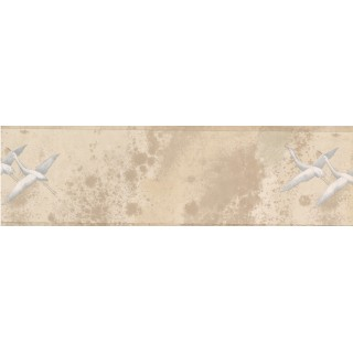 6 1/2 in x 15 ft Prepasted Wallpaper Borders - White Cream Birds Wall Paper Border
