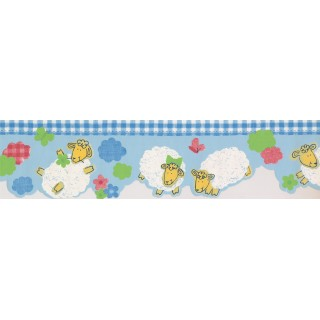 7 in x 15 ft Prepasted Wallpaper Borders - Blue White Plaid Sheep Baby Wall Paper Border