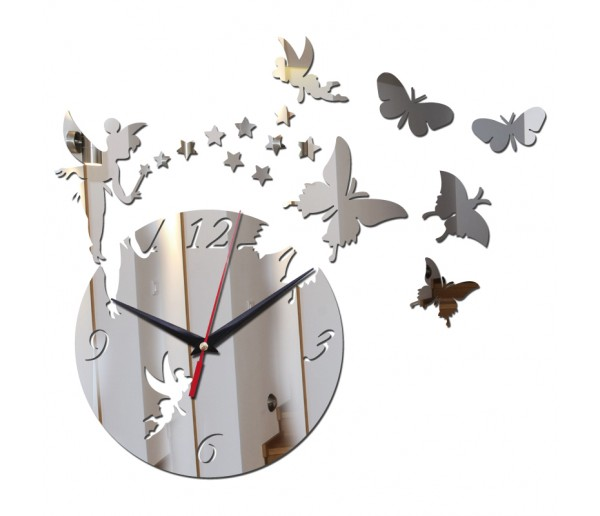 Wall Clocks: DIY 3D Acrylic Wall Clock With Butterfly and Star Sticker